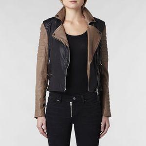 AllSaints Women's Brown Amity Leather Biker Jacket